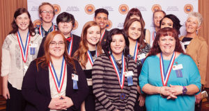(Front two rows, l to r) Amber Shepard, Lauren Burson, Sydney Miller, Nicole Krause and Barbara Hawkins. (Back two rows, l to r) Kimberly Baber, Gavin McInelly, Teresa Wise, Edgar Acosta, Talaina Fisher, Jayden Gubler, Juliet Moreno and NPC President Dr. Jeanne Swarthout. Not pictured, Valon Standerfer.
